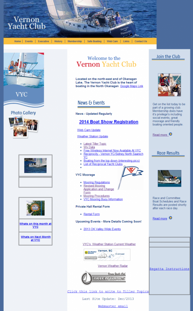 Welcome Post for our New Vernon Yacht Club Website launched February, 2014.