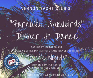 """FAREWELL SNOWBIRDS"" Dinner & Dance @ Vernon Yacht Club 