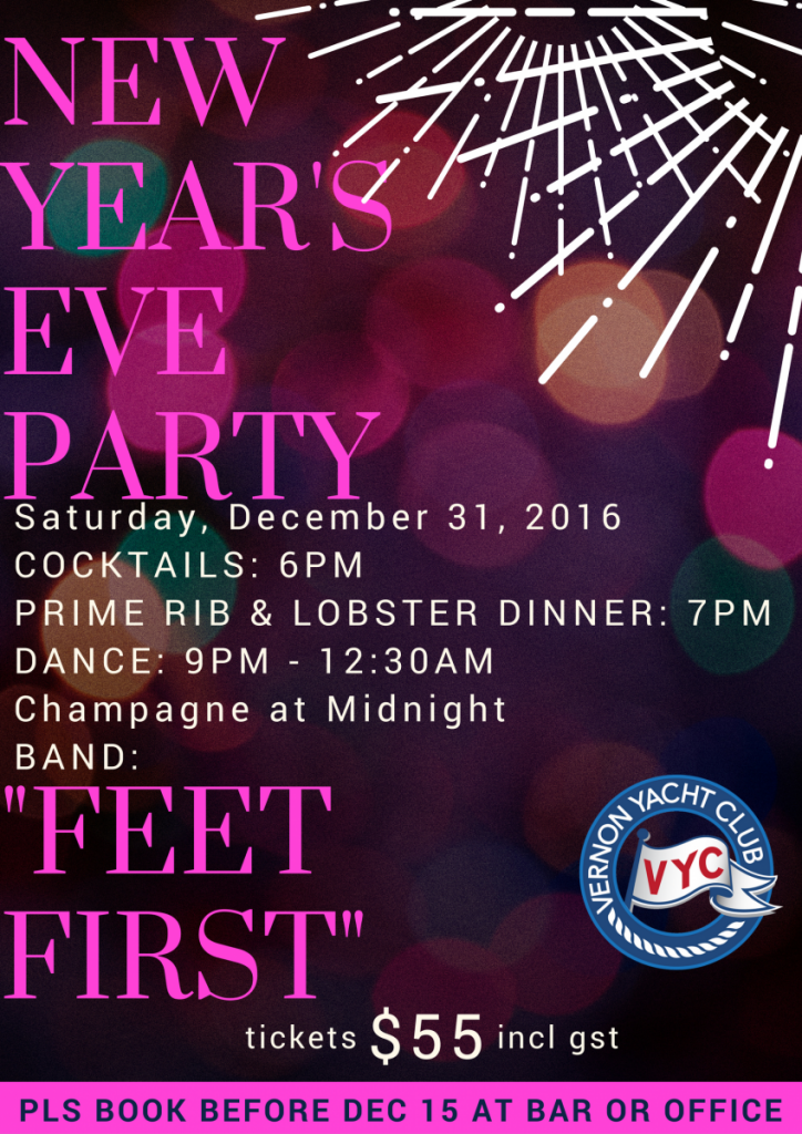 New Year's Eve Party Vernon Yacht Club December 31