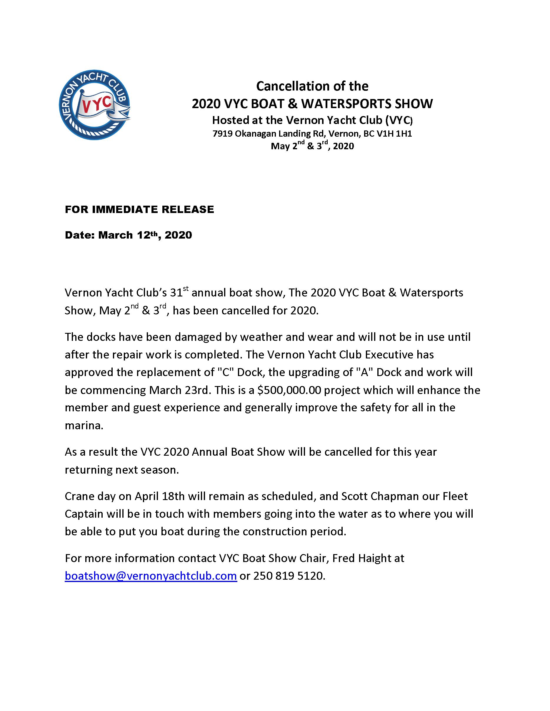 Vernon Yacht Club 2020 Boat Show Cancellation